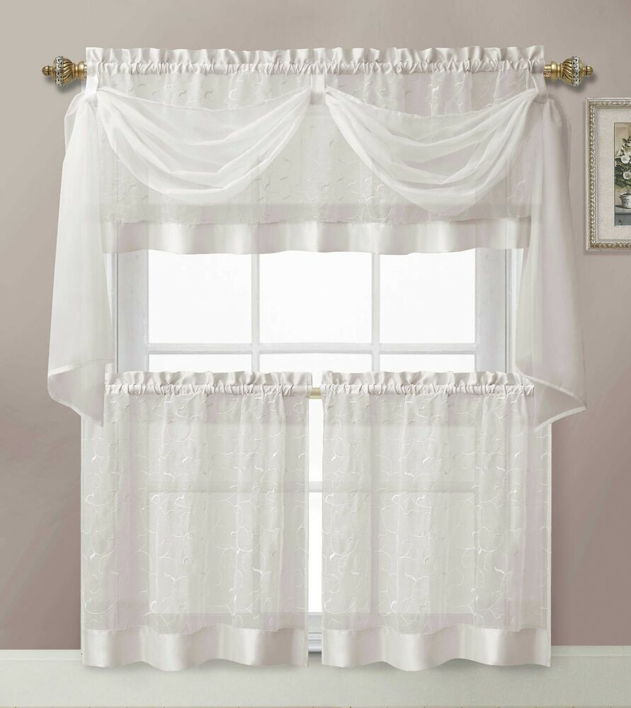 Kitchen Curtains And Valances: White Linen Leaf Embroidered Kitchen Curtain Tiers Valance