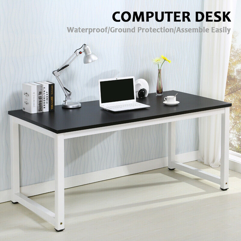 Wood black computer desk pc laptop table workstation study for Home office workstation desk