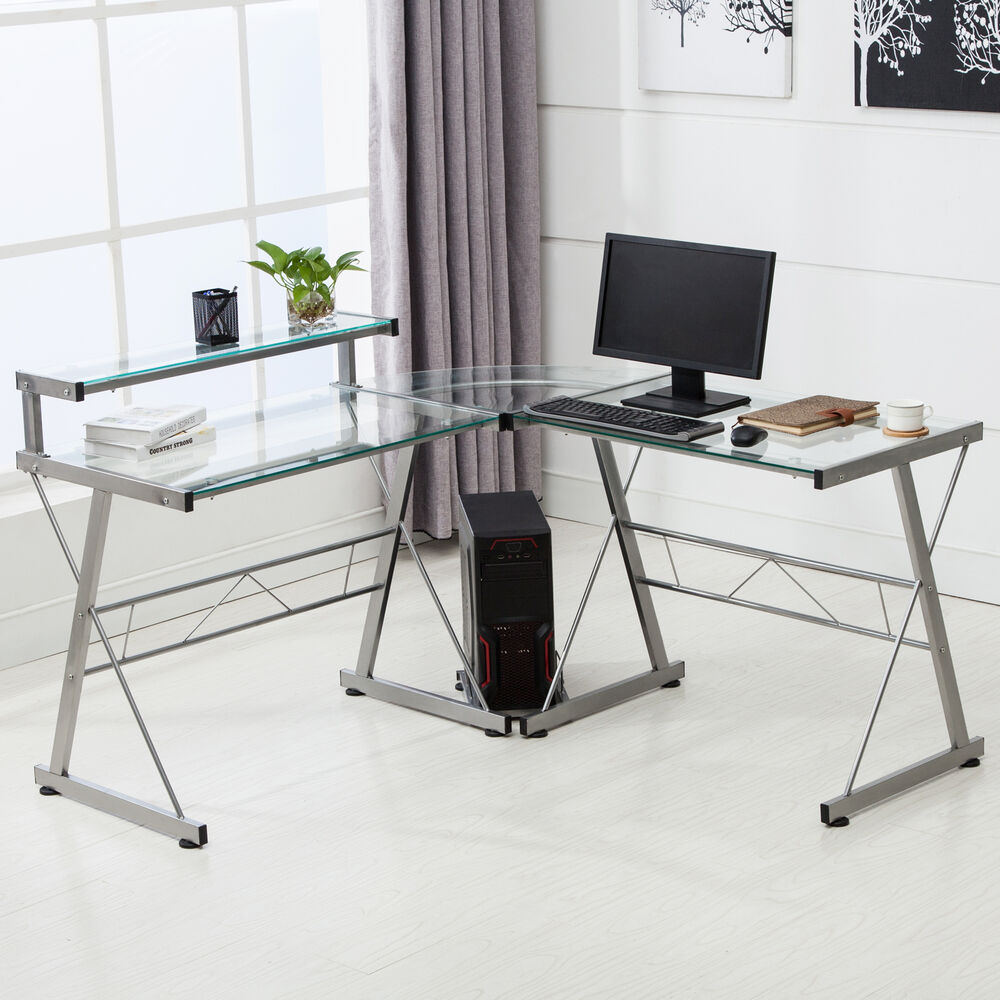 L Shape Corner Computer Desk Pc Glass Laptop Table
