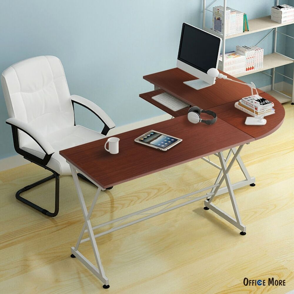 L Shaped Corner Computer Desk Pc Laptop Table Wood Workstation Home Office