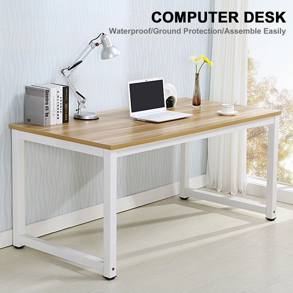 Computer desk pc laptop table wood workstation study home for Home office workstation desk