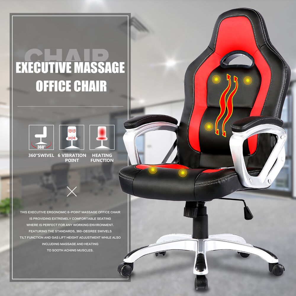 Race Car Computer Office Massage Chair Heated Vibrating PU Leather