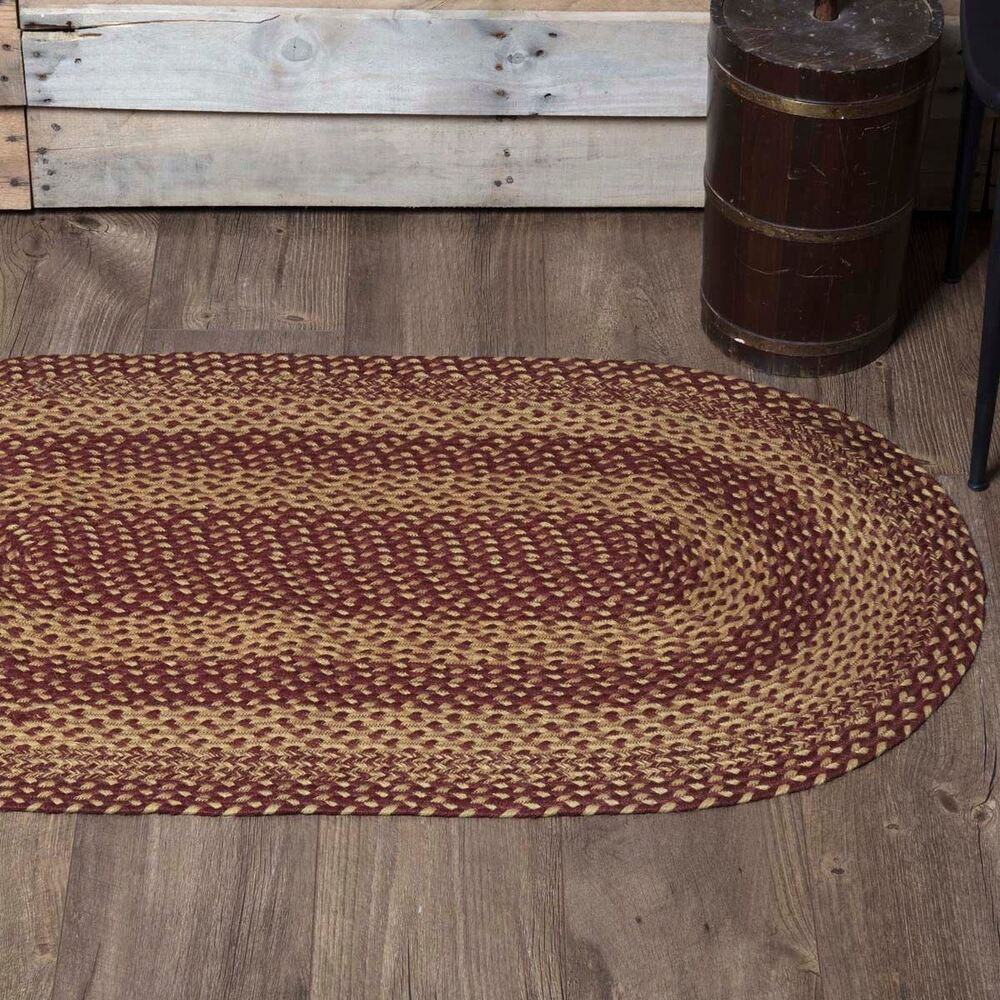 100% Natural Eco-Friendly Braided Rug Burgundy And Tan