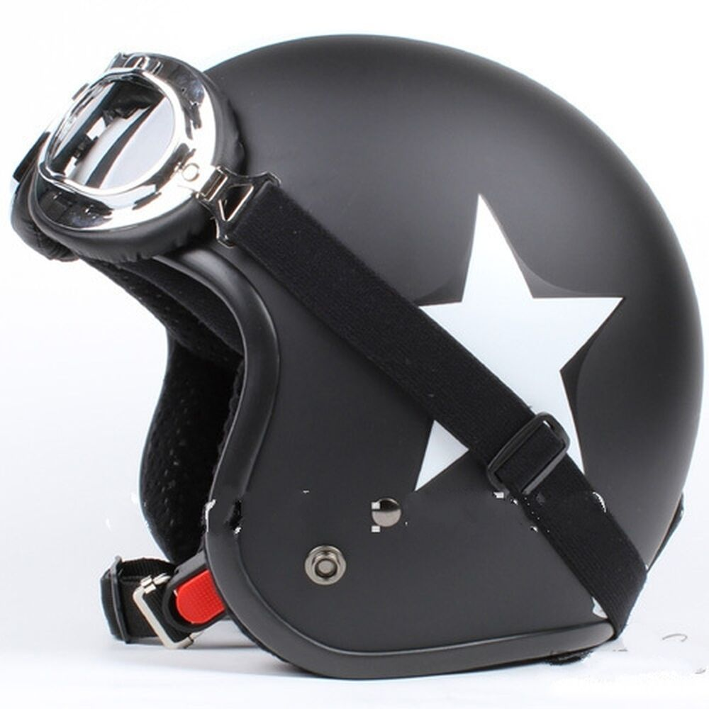 motorcycle helmet jet matte black white star glasses vespa bmw triumph honda ebay. Black Bedroom Furniture Sets. Home Design Ideas