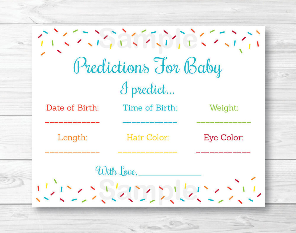 Baby Sprinkle Rainbow Blue Baby Shower Baby Predictions