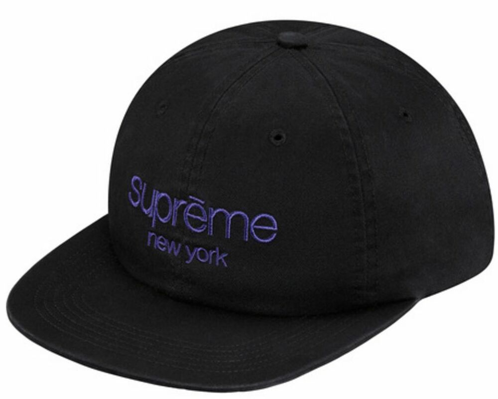 35e604952b9 Details about Supreme SS16 Twill Classic Logo 6-Panel Cap Black Box Hat  Motion S Stone Washed