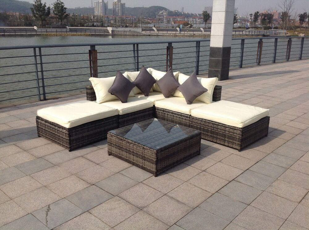 new rattan garden wicker outdoor conservatory corner sofa furniture set ebay. Black Bedroom Furniture Sets. Home Design Ideas