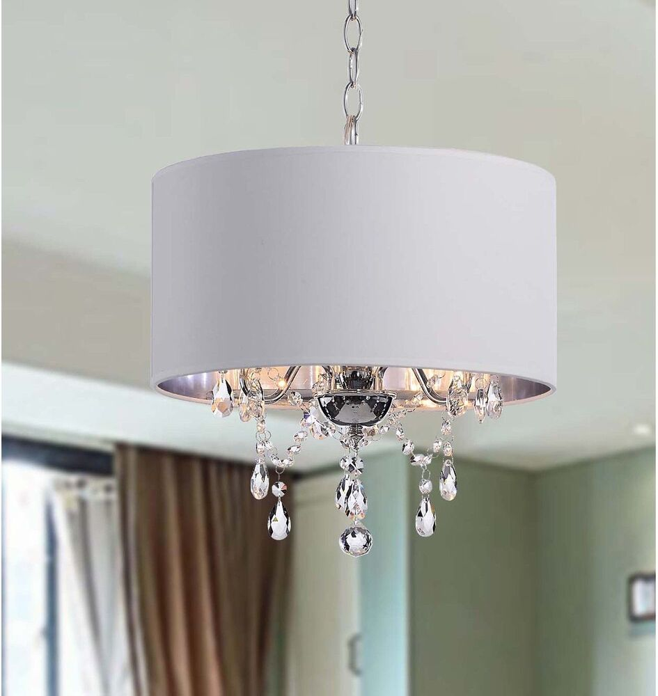 Drum Pendant Chandelier Crystal White Shade 3 Light