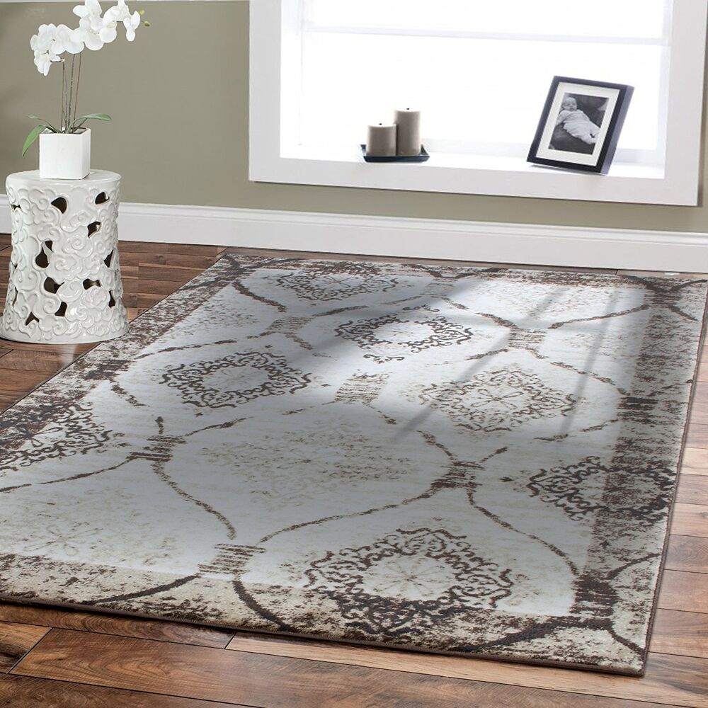 Large Modern Contemporary Area Rugs 8x10 Cream Rug 5x8