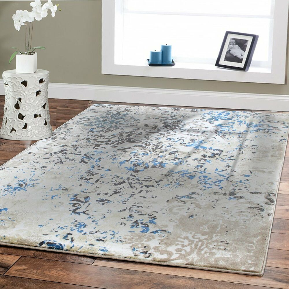 Luxury modern rugs 8x10 cream blue rugs home goods decor for Rug in bedroom