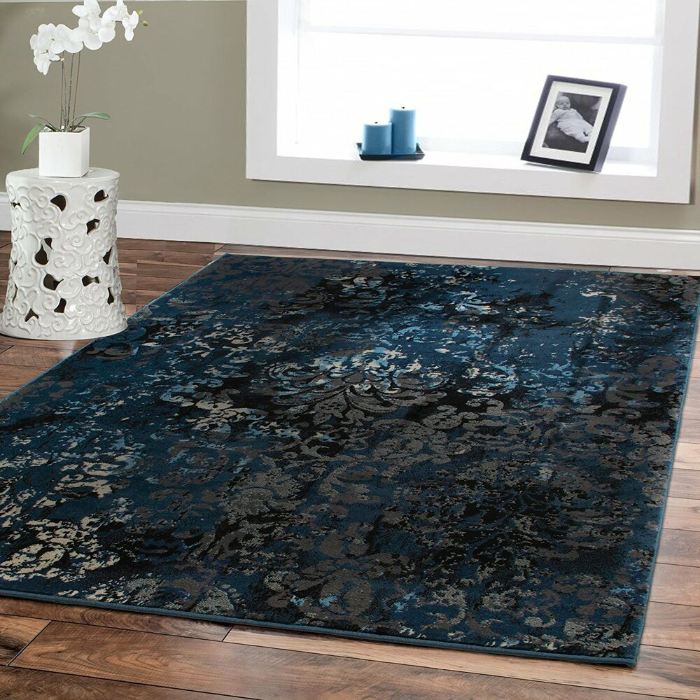 Luxury Area Rugs 8x10 Navy Dark Blue Modern Black