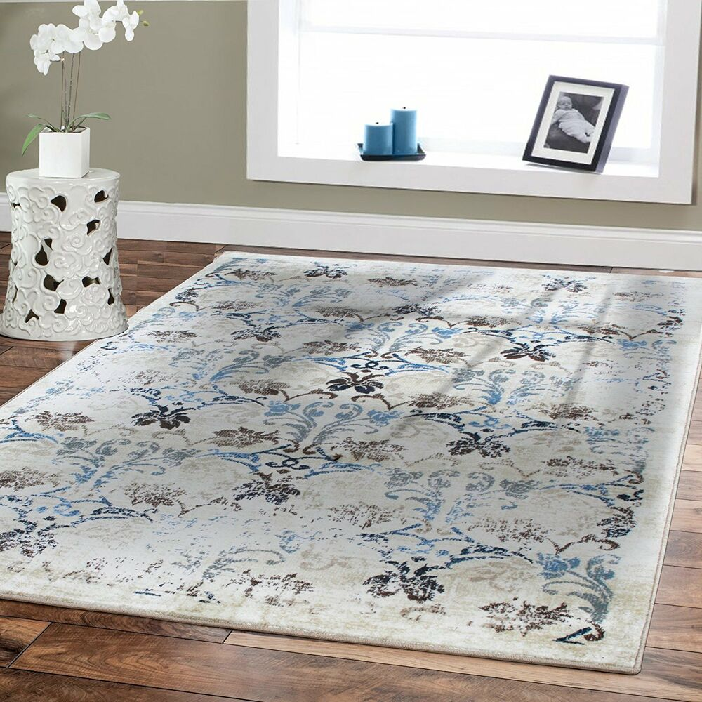 Luxury Large Area Rugs 8x11 Cream Leaves Branch Pattern