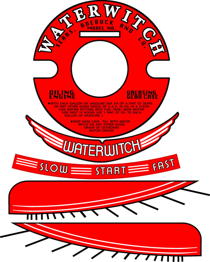 Vintage antique waterwitch outboard motor decals 4 for Waterwitch outboard motor parts