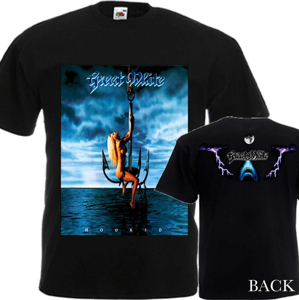 new t shirt 39 39 great white by hard rock band hooked 39 39 dtg. Black Bedroom Furniture Sets. Home Design Ideas