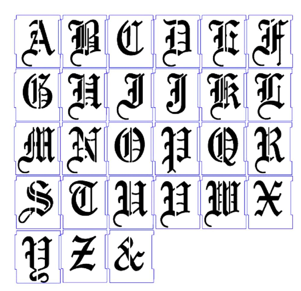 ALPHABET STENCILS AIRBRUSH STENCILS LETTER TEMPLATES 50mm ... Old English Numbers Printable Free