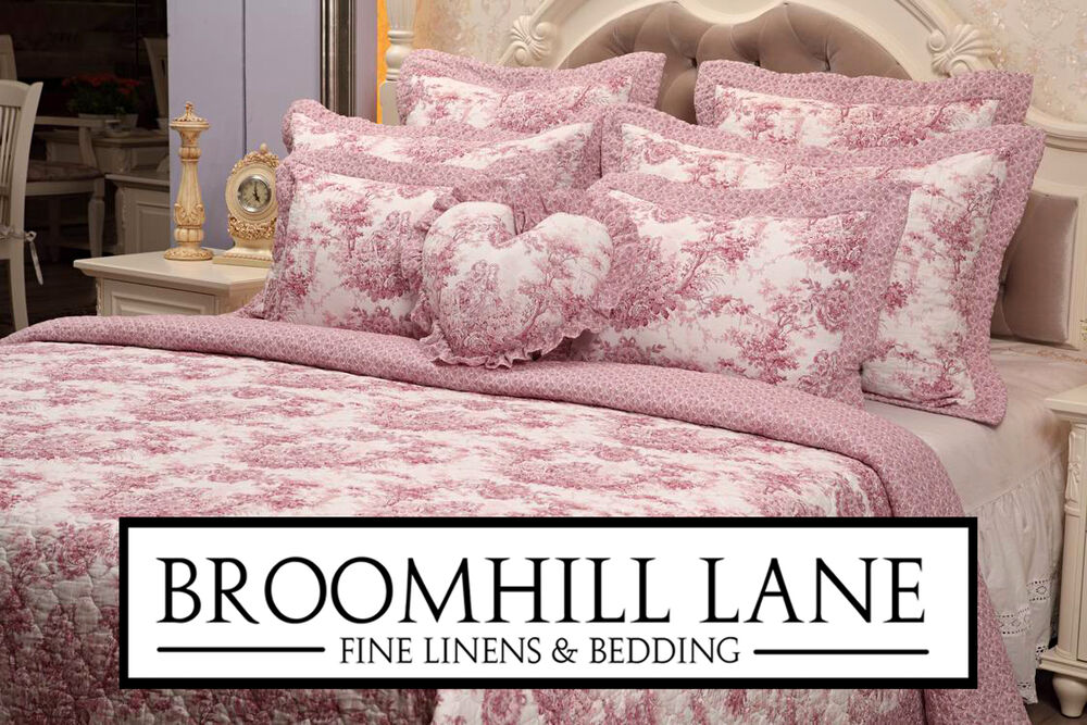 New Luxury 100 Cotton Pink White Toile French Vintage Bedspread Set