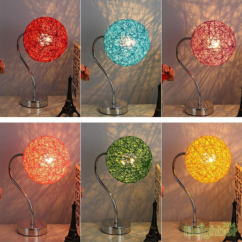 New Rattan twine ball LED Small Table lamp Desk light ...