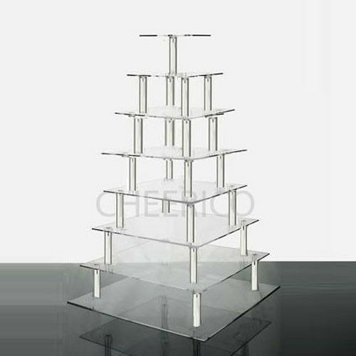 8 Tier Acrylic Square Cupcake Stand Tower Display Ebay