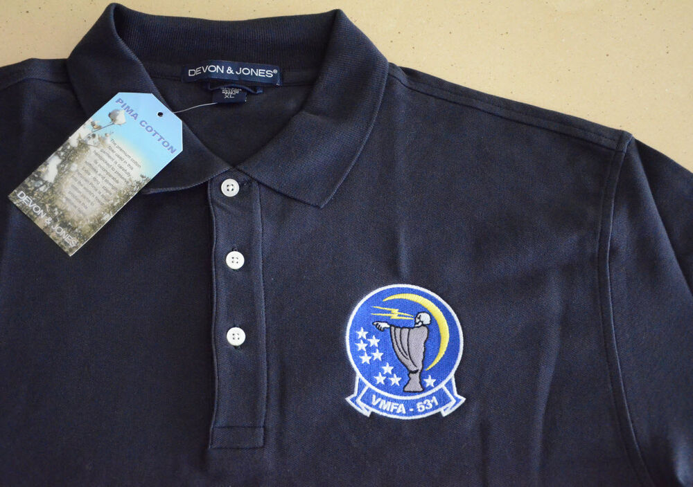 Usmc vmfa 531 grey ghosts embroidered polo shirt ebay for Embroidered polo shirts online