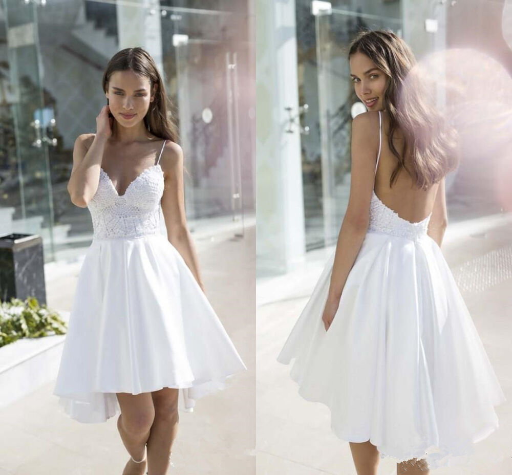 short summer wedding dresses spaghetti lace wedding dress white bridal gown 7359