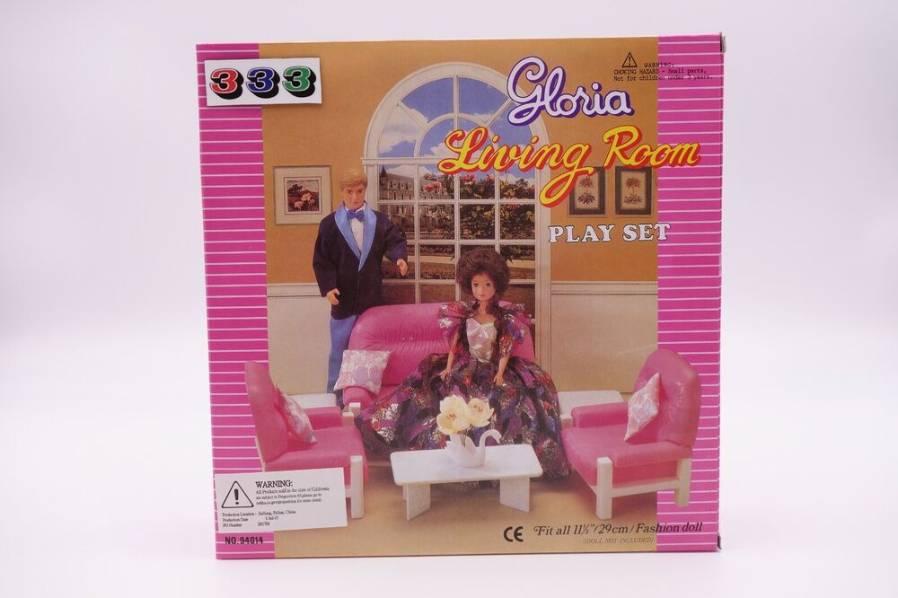 Gloria barbie doll house furniture 94014 living room for Barbie living room furniture set