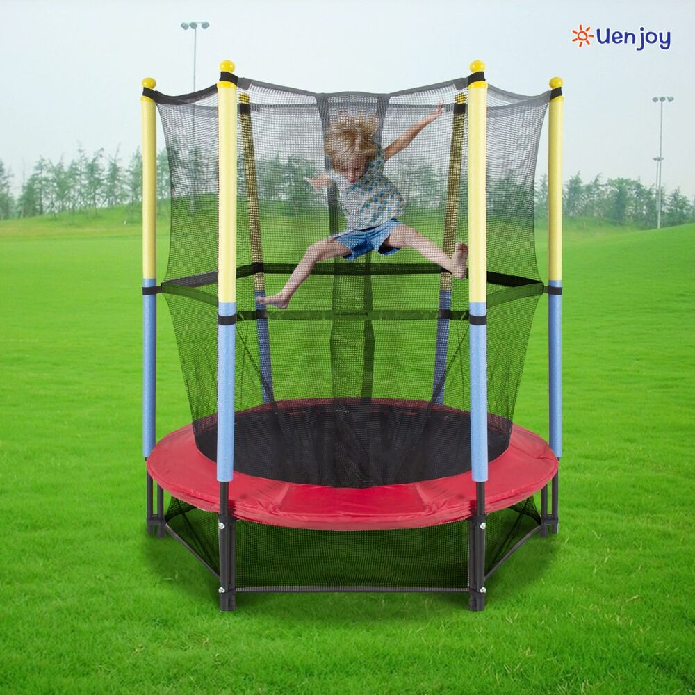 "55"" Round Youth Kids Trampoline Combo W/Enclosure Net Pad"