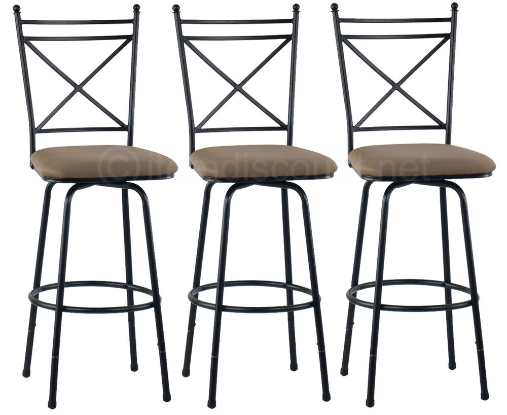 3 Adjustable Height Swivel Bar Stool Set Counter Kitchen