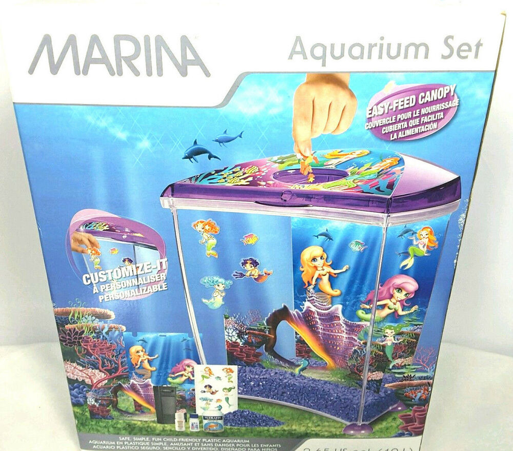 marina gallon aquarium kit fish tank starter set new mermaid theme purple ebay. Black Bedroom Furniture Sets. Home Design Ideas