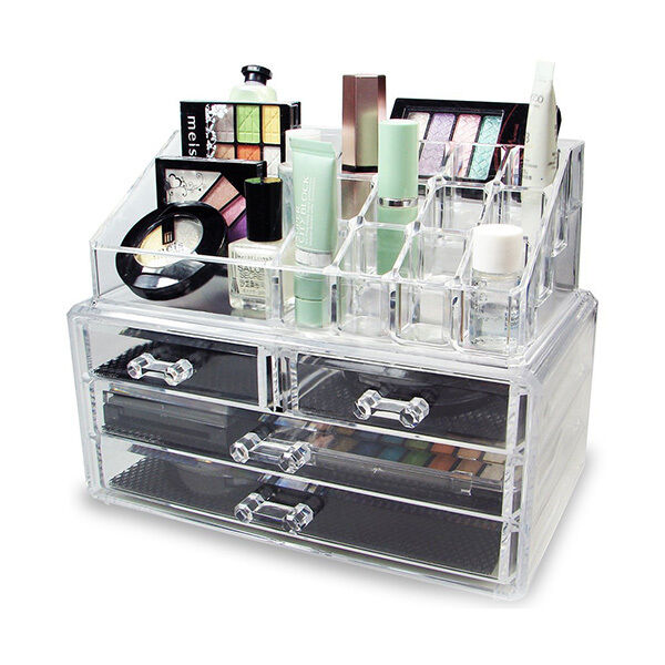 acrylic jewelry makeup cosmetic organizer case display. Black Bedroom Furniture Sets. Home Design Ideas