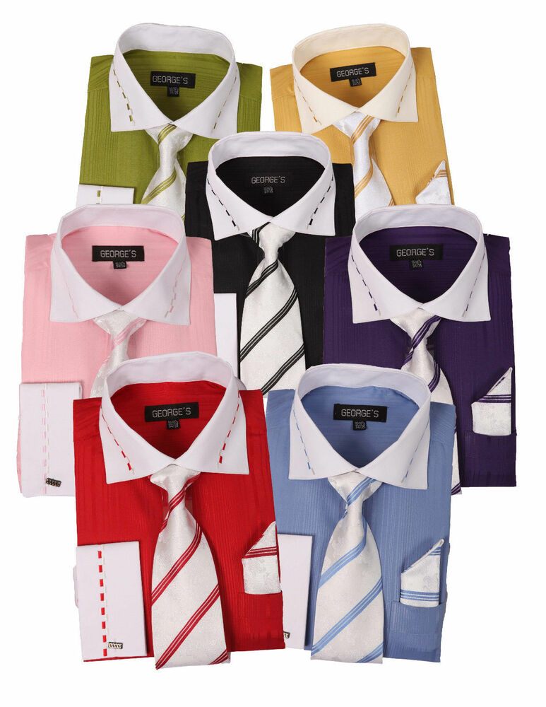 New Men S Dress Shirt Set With White Collar And French