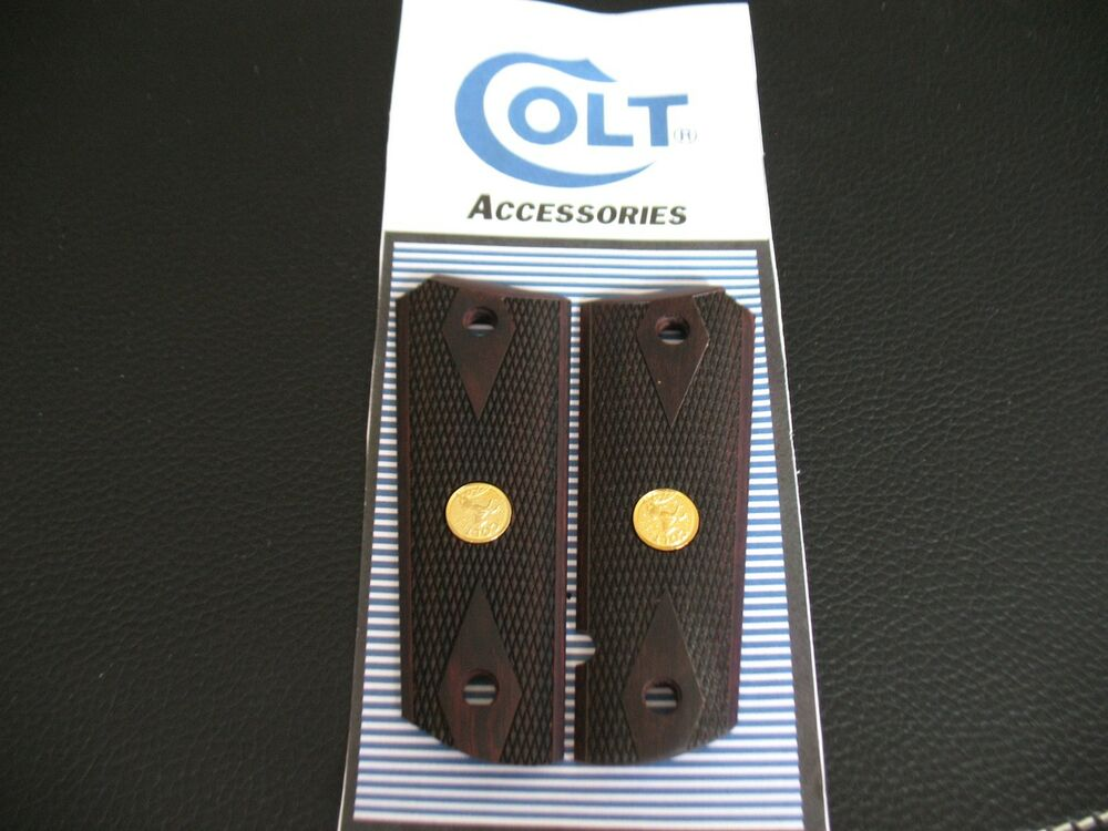 Checkered Rosewood Double Diamond Grips For Colt 1911 With