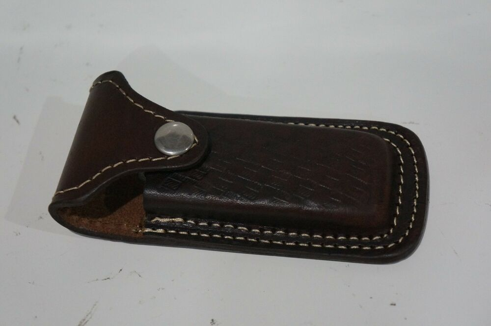 Brown Leather Sheath Pouch For Folding Pocket Knife Up To