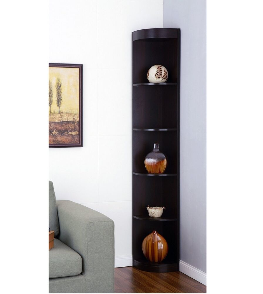 Tall corner shelves display stand rack living room cabinet - Glass corner shelf for living room ...