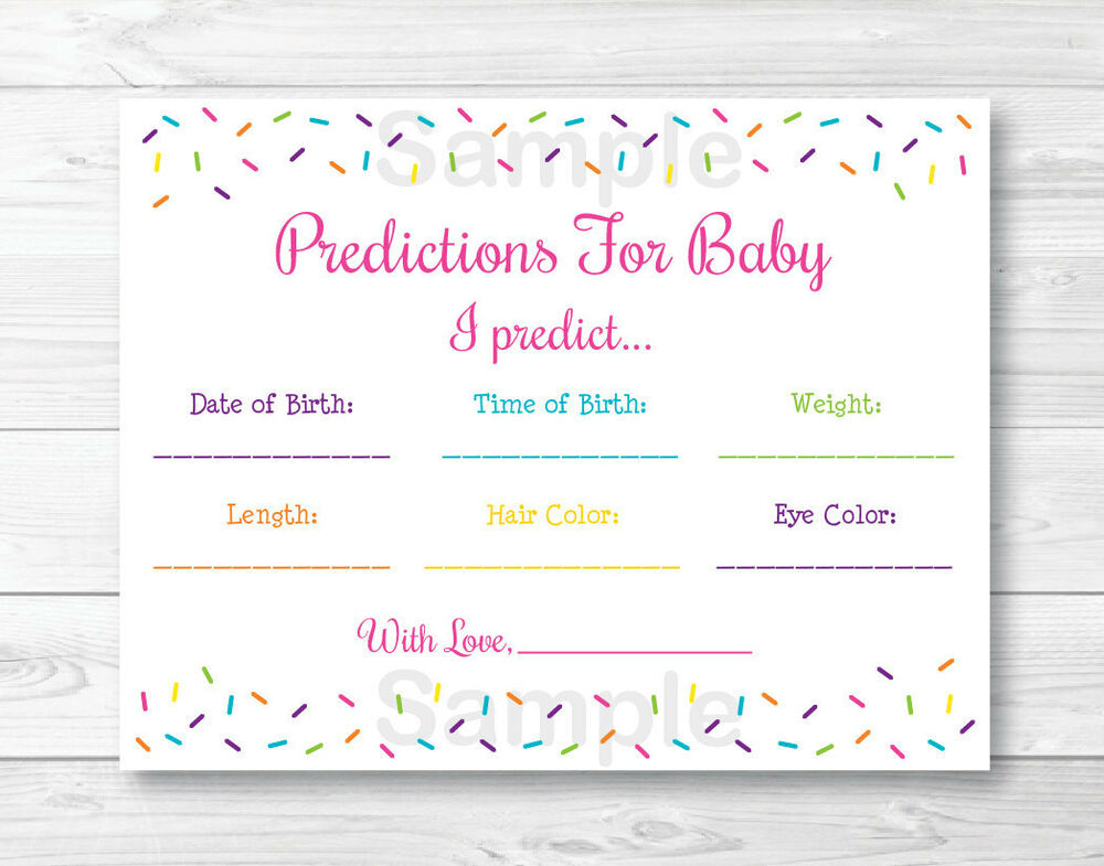 Pink Baby Sprinkle Baby Shower Baby Predictions Game Cards Printable ...