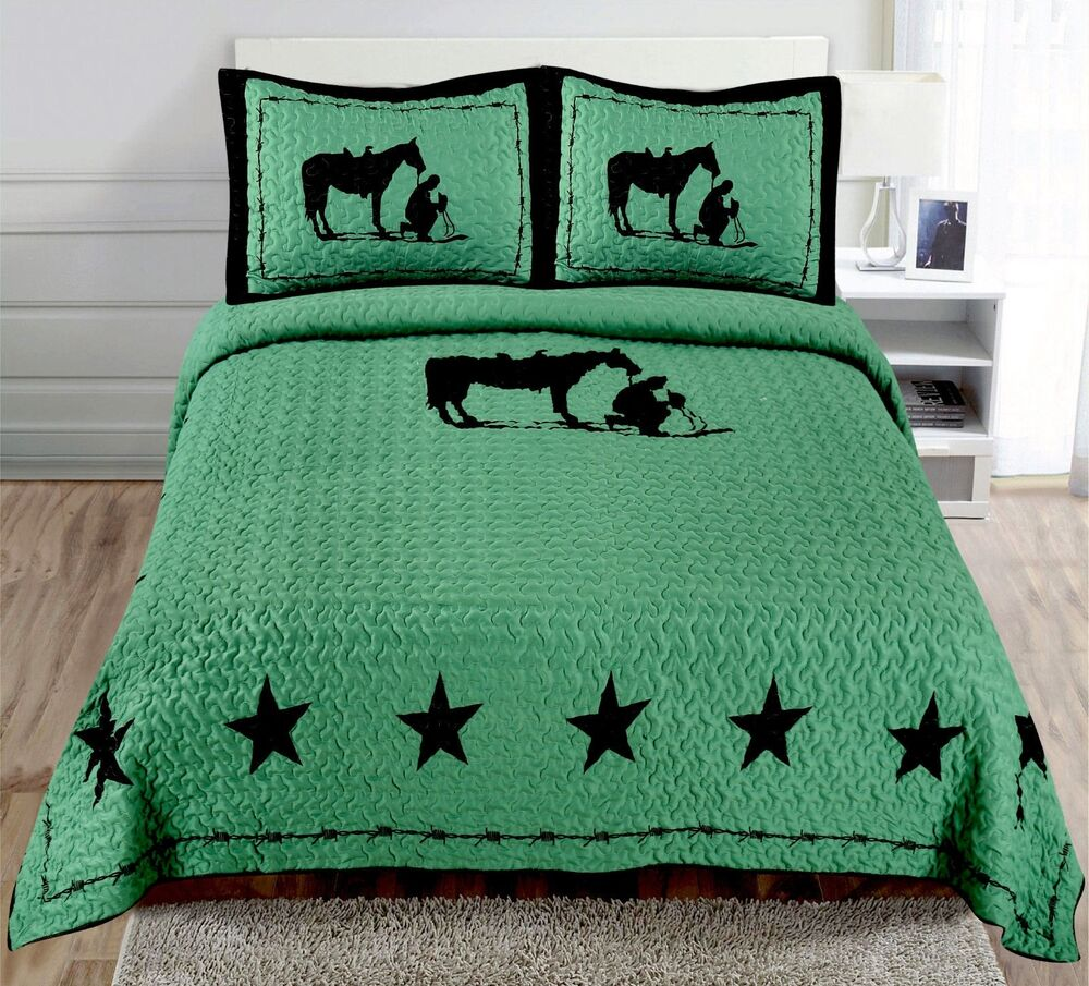 Texas Praying Cowboy Horse Star Western Quilt Bedspread Comforter Shams 3 Pc Set | eBay