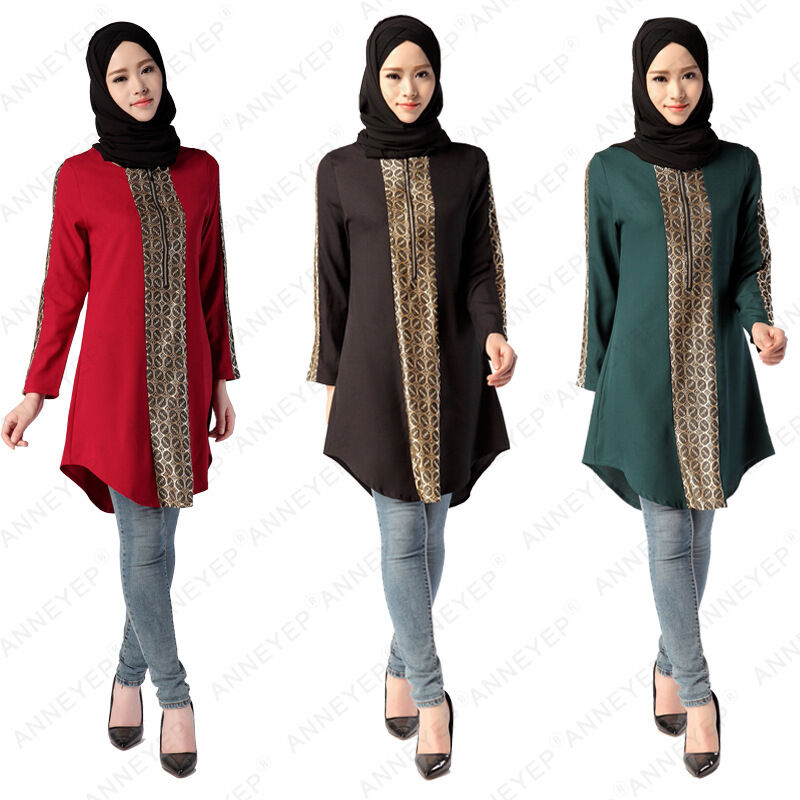 Kaftan Muslim Women Dress Long Sleeve Abaya Shirt Tops