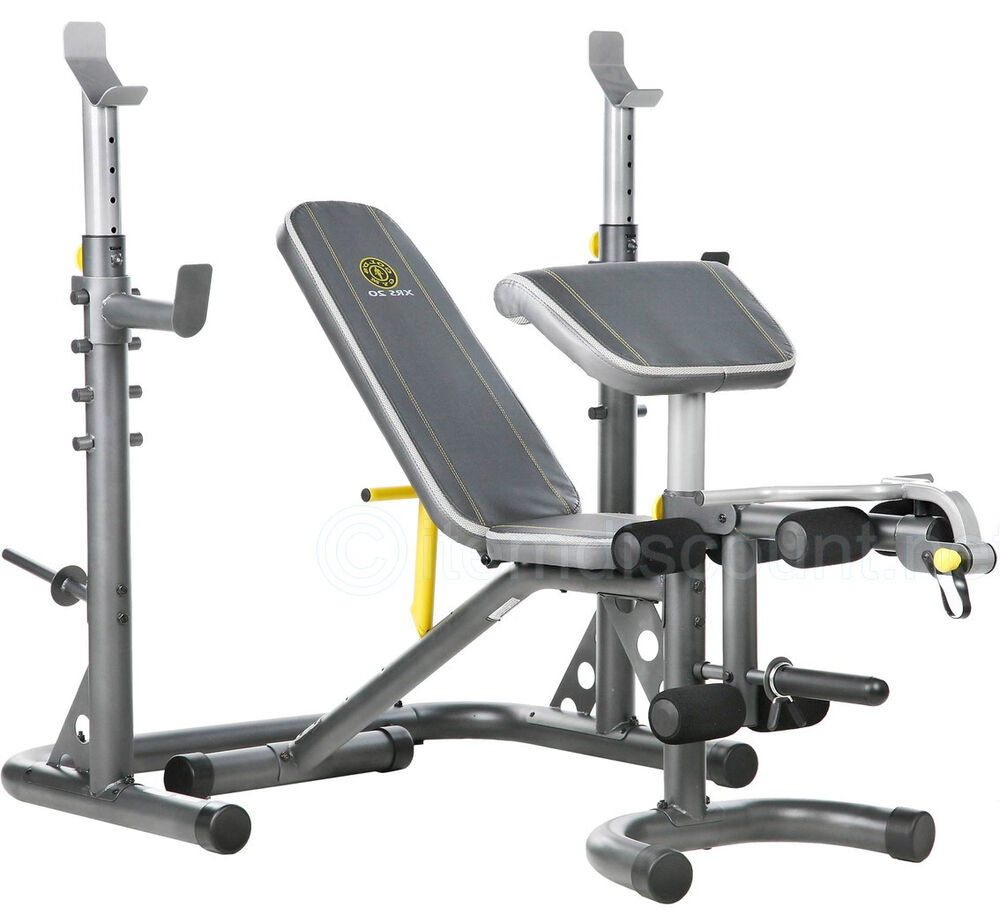Golds Gym Xrs20 Weight Bench Adjustable Leg Ab Olympic Squat Rack Preacher Curl Ebay