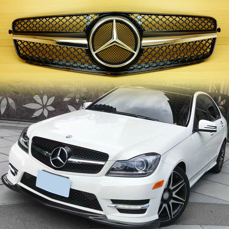 08 13 m benz c class w204 sl look shiny black front grille for Mercedes benz c300 grill