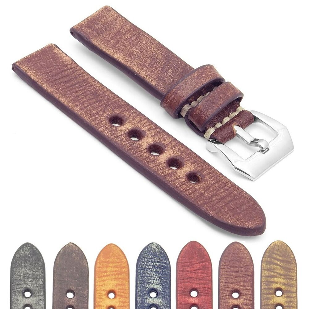 Strapsco extra long distressed vintage leather watch band mens strap ebay for Men gradient leather strap