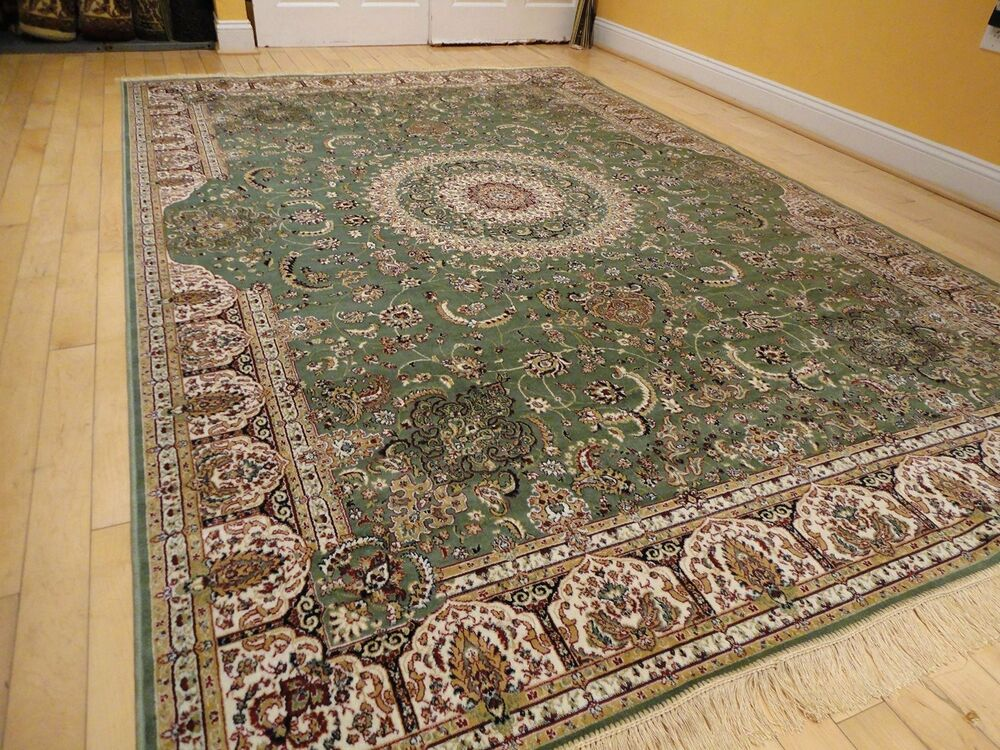 Silk Persian Rugs Tabriz Rug 9x12 Green Area Rugs 5x8 Rug