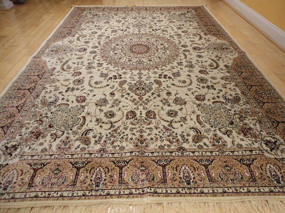 Luxury Traditional Silk Rug Large Area Rugs 10x13 Ivory