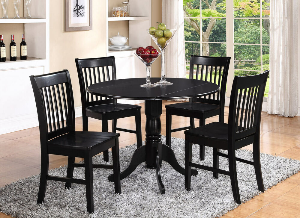 Dlno5 blk w 5 pieces small kitchen table set round kitchen for Small kitchen table and chairs