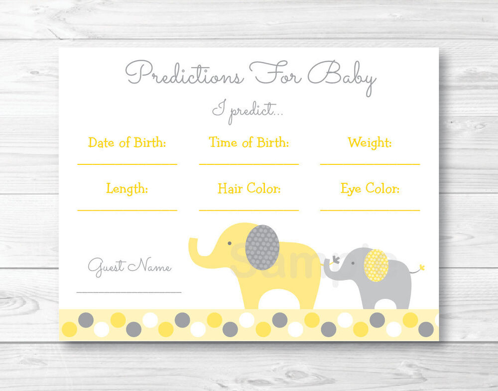 Yellow Amp Grey Elephant Baby Shower Baby Predictions Game