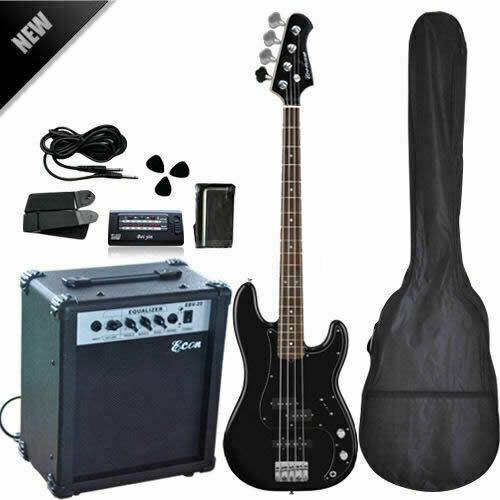 electric bass guitar with 20w amp high quality ebay. Black Bedroom Furniture Sets. Home Design Ideas
