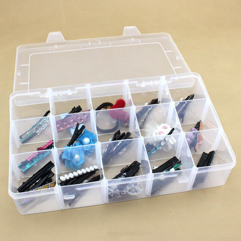 Large 15slots adjustable jewelry plastic storage box case for Craft storage boxes plastic