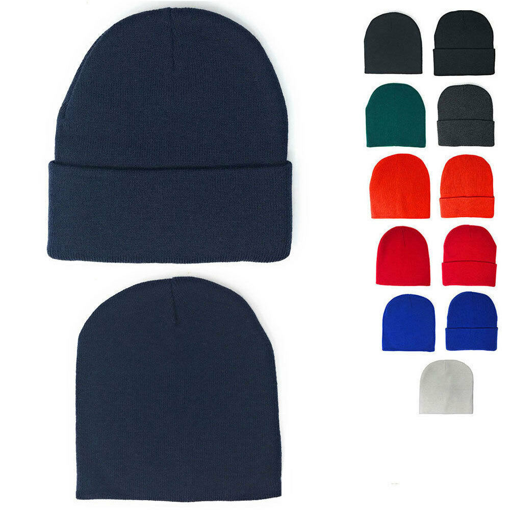 5e583a4744d3fe 1 Dozen Beanies Classic Short Uncuffed or Long Cuffed Warm Winter Hats  Wholesale | eBay