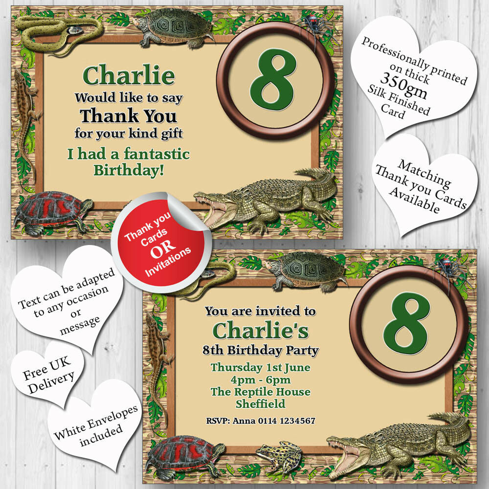 10 Personalised Birthday Party Invitations Reptile Snake Lizard