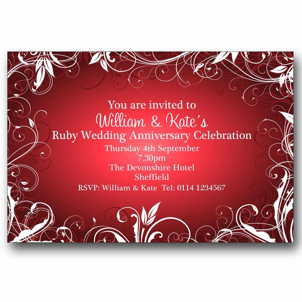 10 Personalised Party Invitations 40th Ruby Wedding Anniversary M32 ...