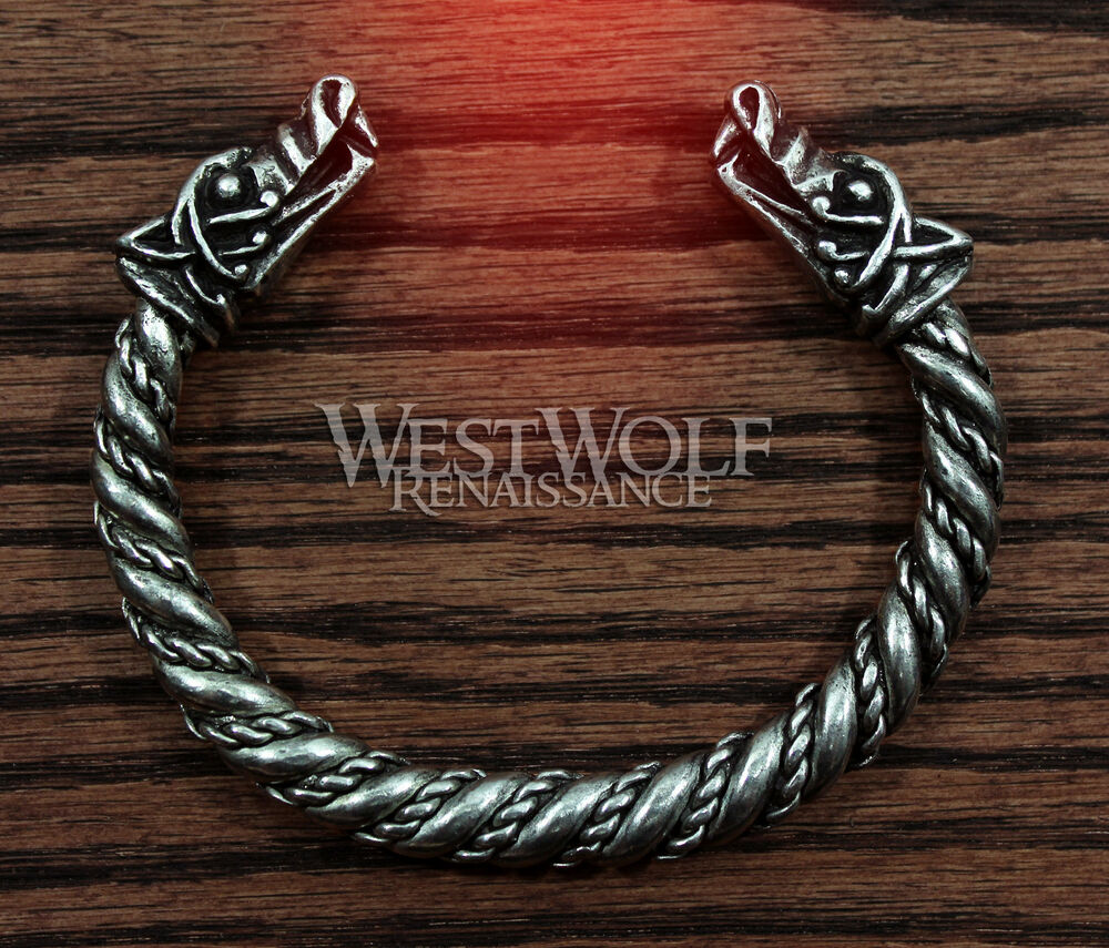 Silver Viking Wolf Head Bracelet Norse Medieval Pewter
