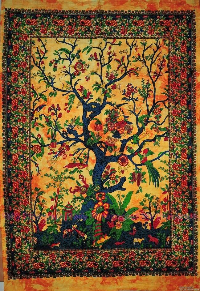 Decorative Wall Hanging Tapestry : Indian wall hanging tree of life yellow batik tapestry